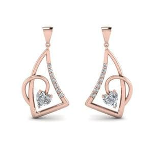 Heart Diamond Stud Drop Earring In 14K Rose Gold