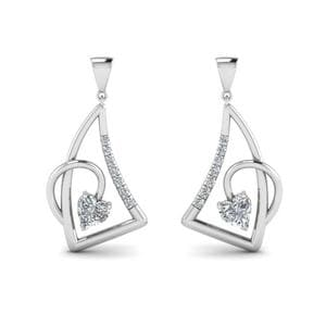 Heart Diamond Stud Drop Earring In 14K White Gold