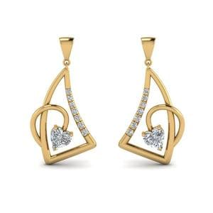 Heart Diamond Stud Drop Earring In 14K Yellow Gold