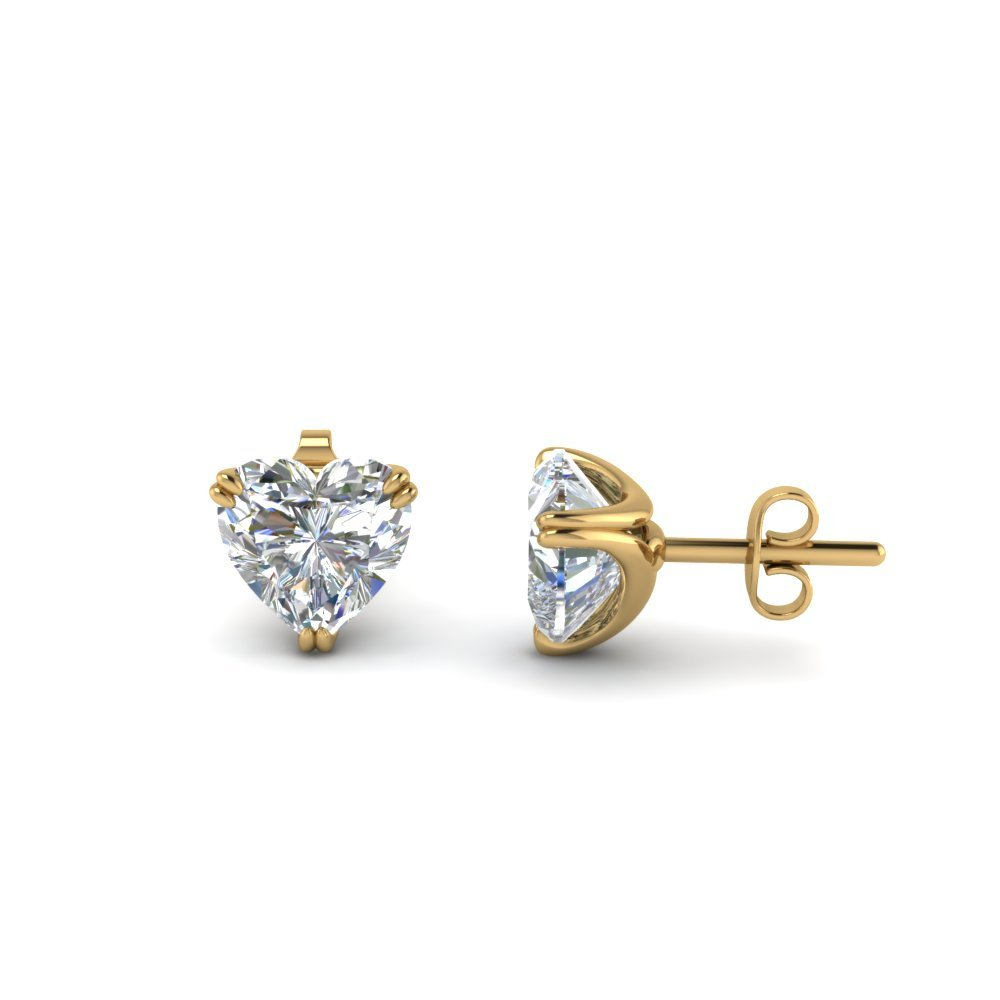 Heart Diamond Stud Earring 2 Carat In 14K Yellow Gold