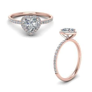Diamond Stud Prong Halo Engagement Ring In 14K Rose Gold