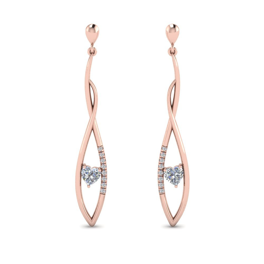 Heart Diamond Twist Earring For Women In 18K Rose Gold
