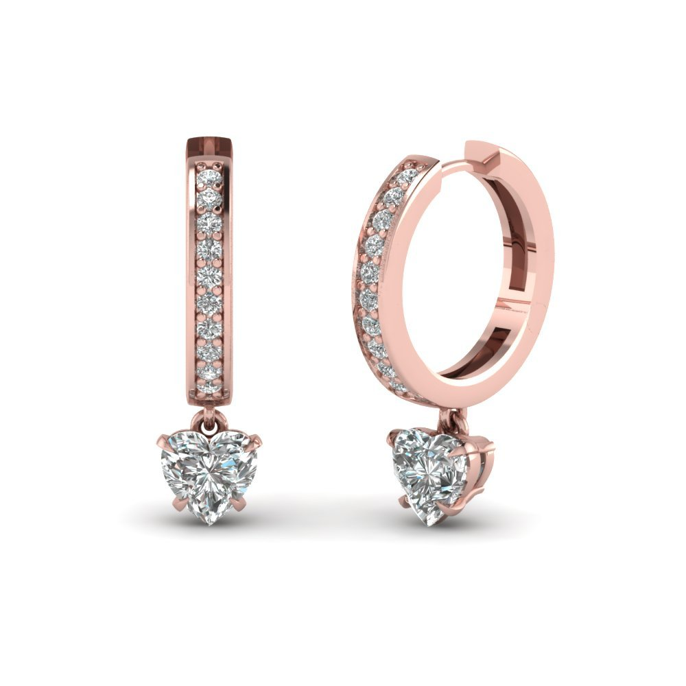 Heart Drop Hoop Diamond Earring
