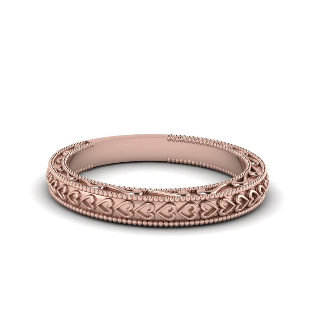 Heart Filigree Milgrain Womens Band In 14K Rose Gold