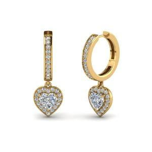 Heart Halo Diamond Drop Earring In 14K Yellow Gold