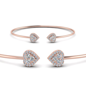Heart Halo Diamond Cuff Bracelet