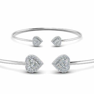Heart Halo Diamond Open Cuff Bracelet In 14K White Gold