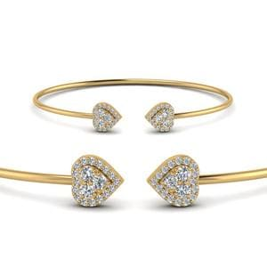 Heart Halo Diamond Open Cuff Bracelet In 14K Yellow Gold