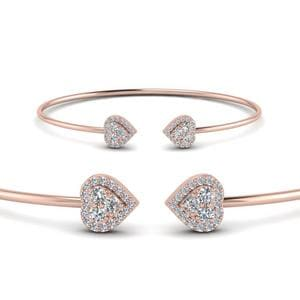 Heart Halo Diamond Open Cuff Bracelet In 18K Rose Gold