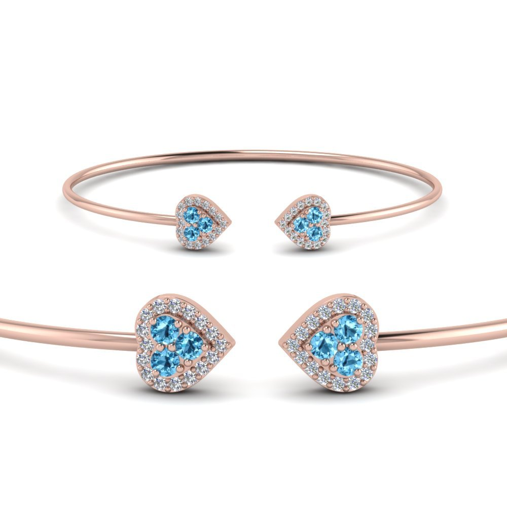 Heart Halo Blue Topaz Open Cuff Bracelet