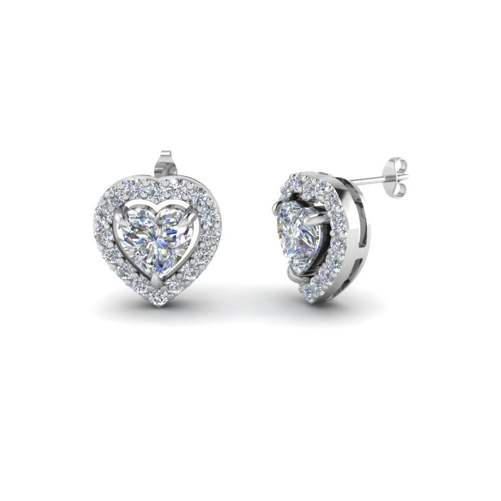 Heart Halo Diamond Stud Earring