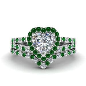 Platinum Emerald Bridal Ring Set
