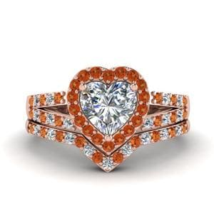 Halo Orange Sapphire Bridal Set