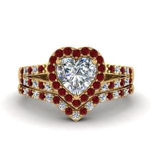 Split Shoulder Ruby Wedding Set