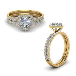Heart Halo Diamond Wedding Set
