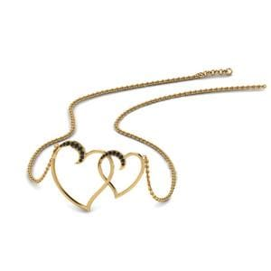 Heart Interlocked Black Diamond Pendant In 18K Yellow Gold