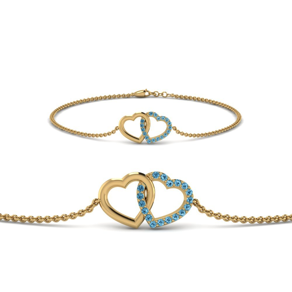 Heart Interlocked Blue Topaz Bracelet