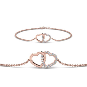 Heart Interlocked Diamond Bracelet In 14K Rose Gold