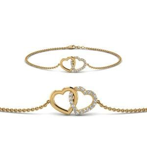 Heart Interlocked Diamond Bracelet In 14K Yellow Gold