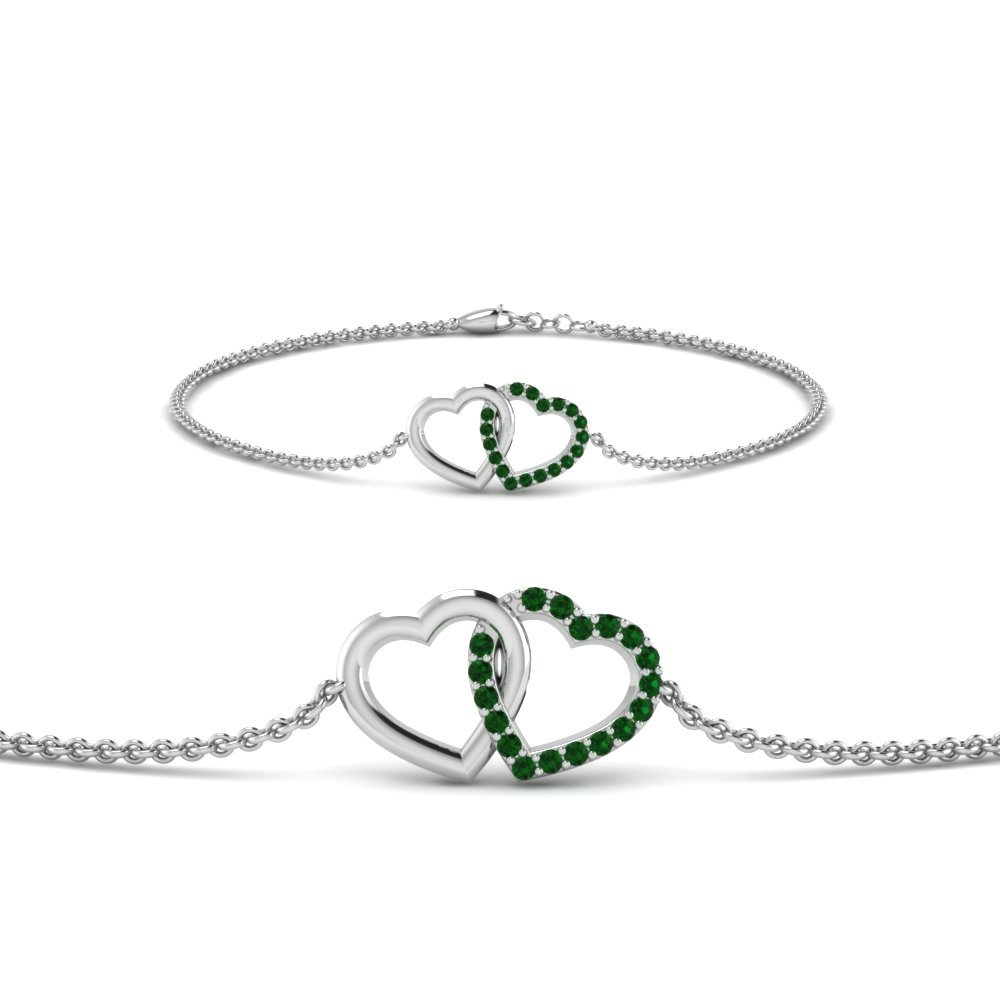 Heart Interlocked Emerald Bracelet