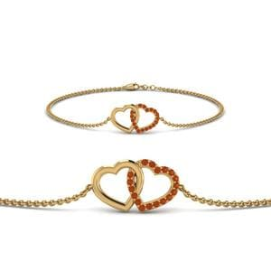 Heart Interlocked Orange Sapphire Bracelet In 14K Yellow Gold