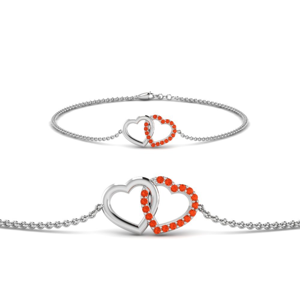 Heart Interlocked Orange Topaz Bracelet