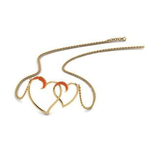 Heart Interlocked Orange Topaz Pendant In 14K Yellow Gold