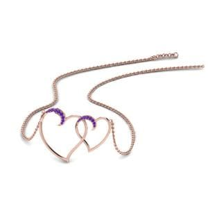 Heart Interlocked Purple Topaz Pendant In 14K Rose Gold