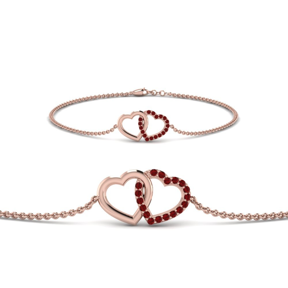 Heart Rose Gold Ruby Bracelet