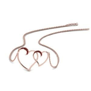 Heart Interlocked Ruby Pendant In 18K Rose Gold
