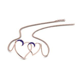 Heart Interlocked Sapphire Pendant In 14K Rose Gold