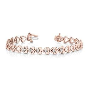 Heart Linked Diamond Bracelet In 14K Rose Gold