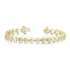 Heart Linked Diamond Bracelet In 14K Yellow Gold