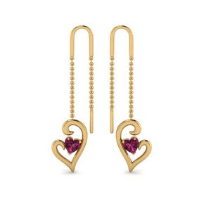 Heart Pink Sapphire Drop Thread Earring In 14K Yellow Gold