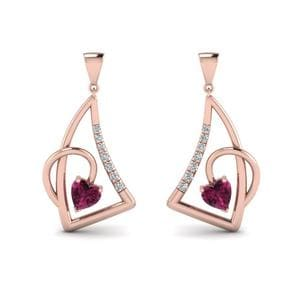 Rose Gold Pink Sapphire Stud Earring