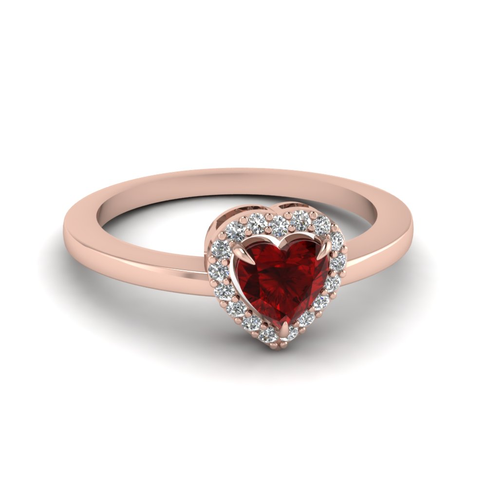 Ruby Heart And Halo Diamond Ring