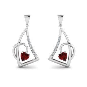 Platinum Ruby Stud Drop Earring