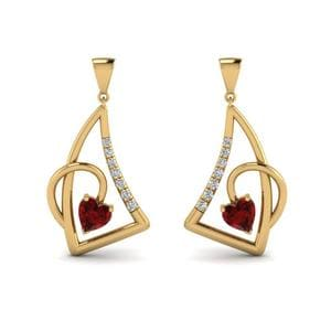 Heart Ruby Stud Drop Earring
