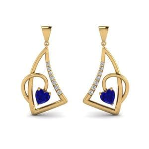 Yellow Gold Sapphire Stud Drop Earring