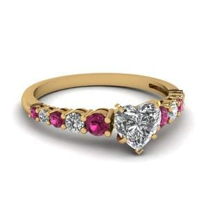 Graduated Heart Diamond Ring With Pink Sapphire In 14K Yellow Gold