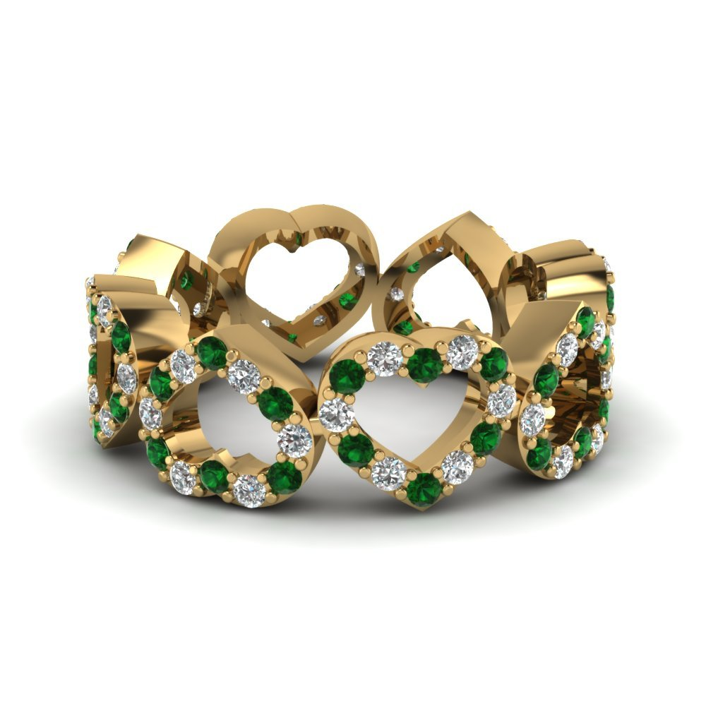 Heart Eternity Band With Emerald
