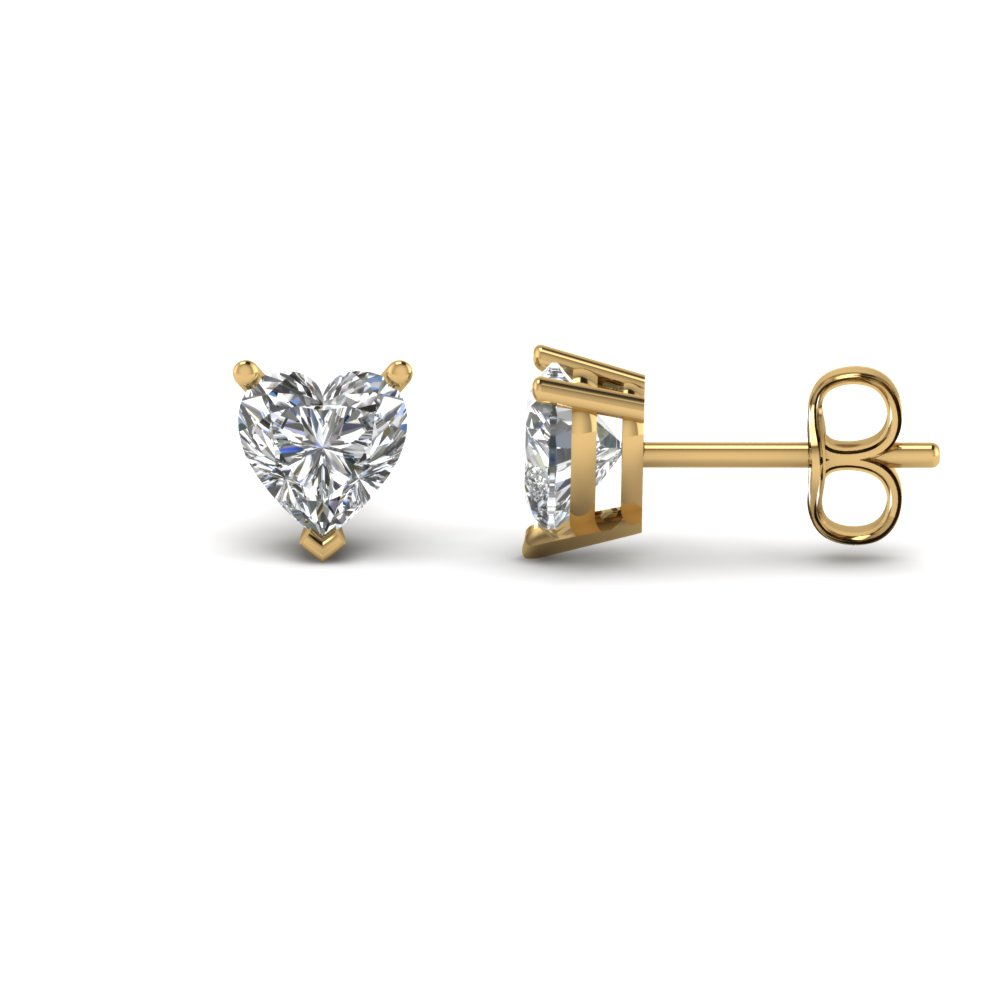 2 Carat Heart Stud Diamond Earring