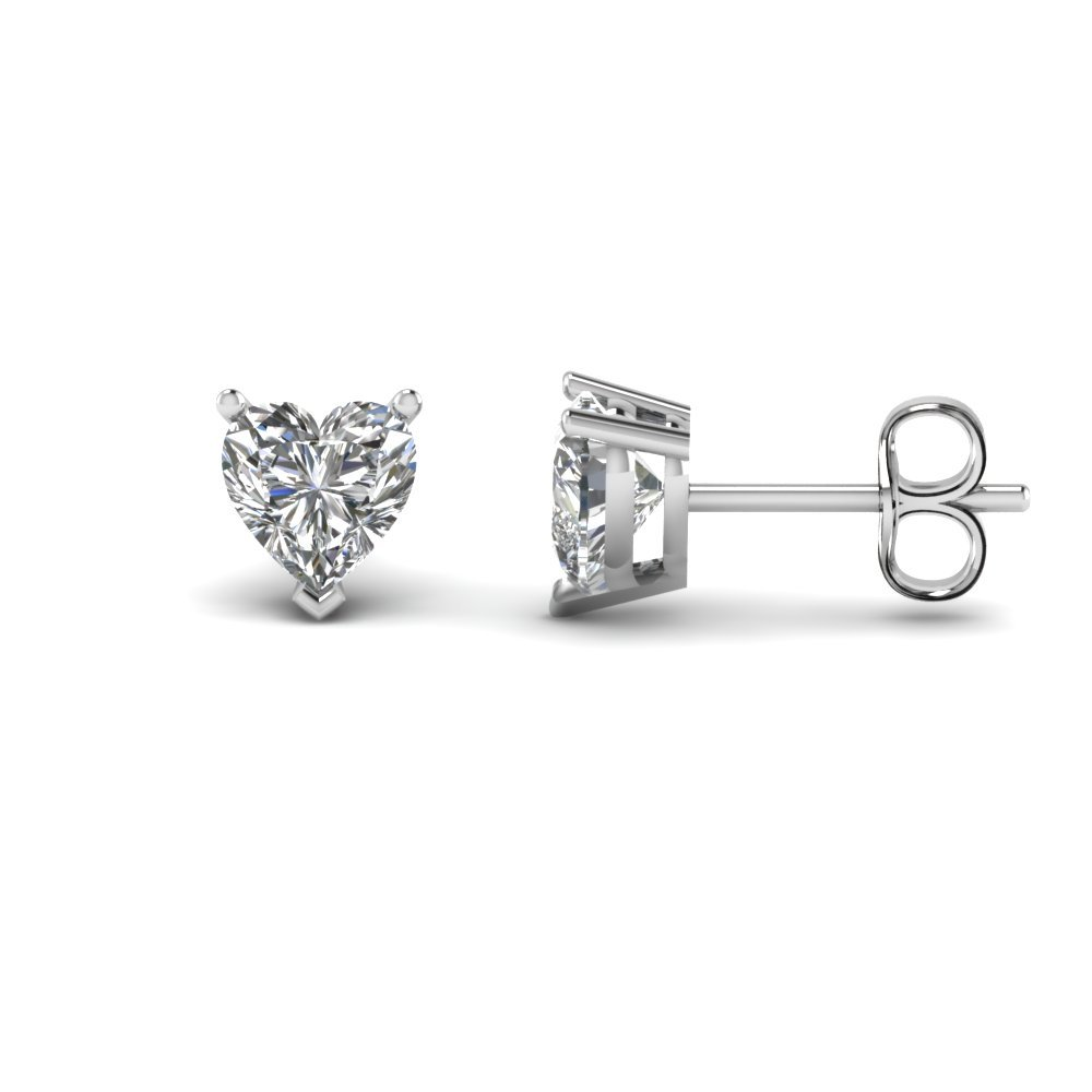 3 Carat Heart Stud Diamond Earring
