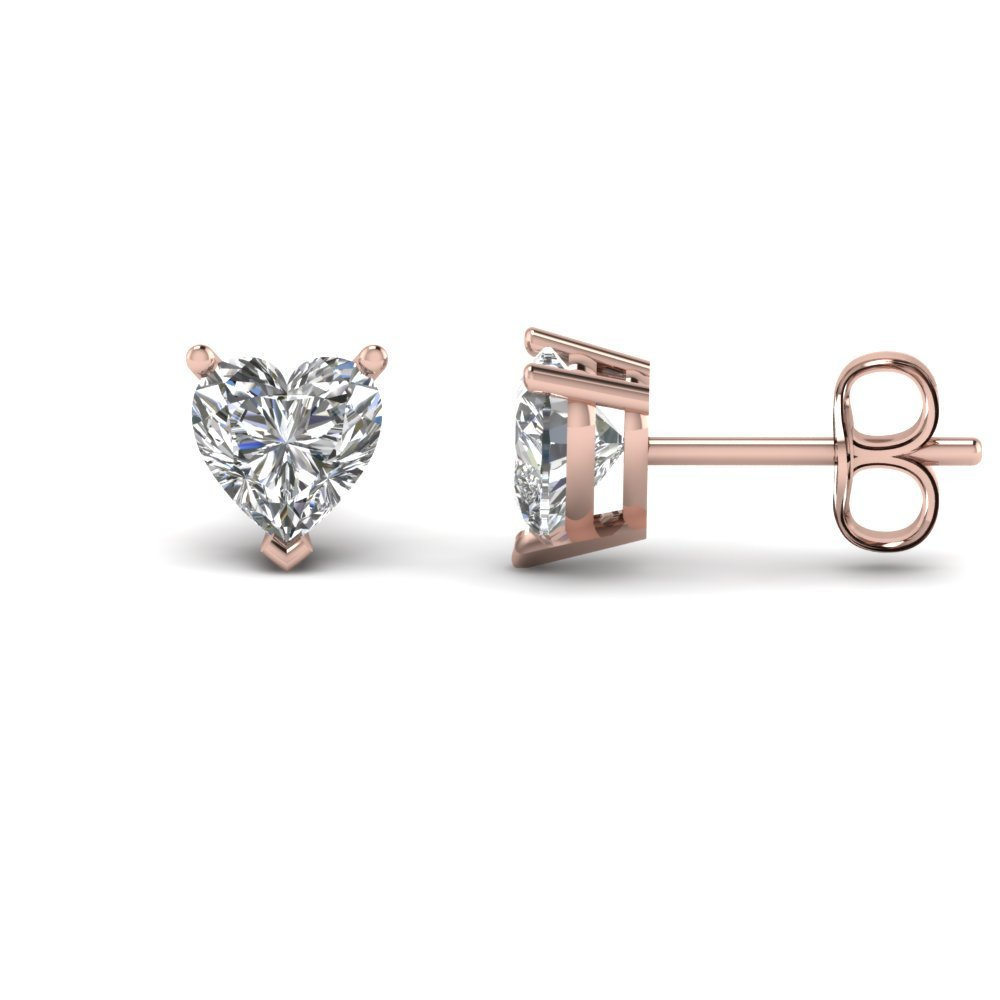 4 Carat Heart Stud Diamond Earring