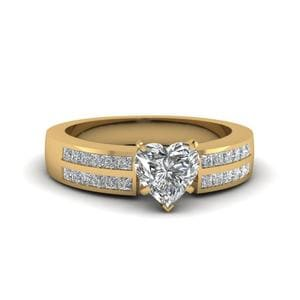 Channel 2 Row Heart Shaped Diamond Engagement Ring In 14K Yellow Gold
