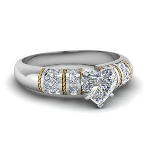 Heart Shaped Antique 2 Tone Diamond Engagement Ring In 14K White Gold