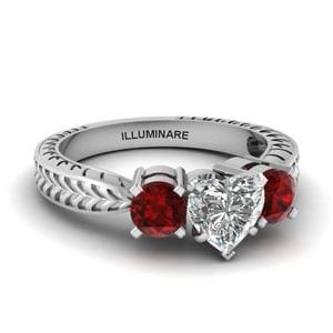 Ruby Vintage Heart Diamond Ring