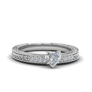 Heart Shaped Antique Design Pave Diamond Engagement Ring In 14K White Gold