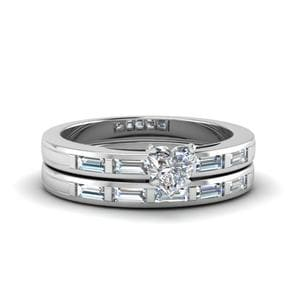 Heart Shaped Bar Baguette Diamond Simple Wedding Ring Set In 18K White Gold