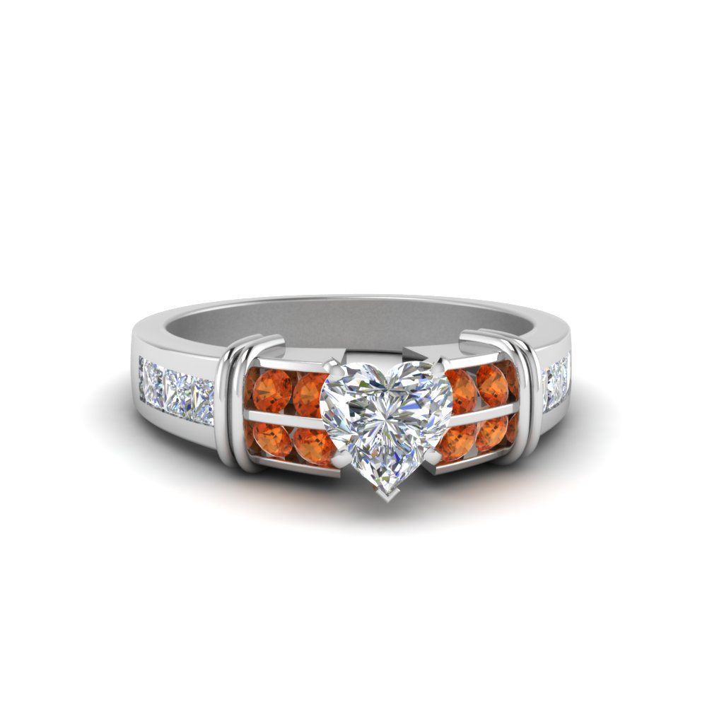 Heart Shaped Bar Channel Set Wide Diamond Ring With Orange Sapphire In 14K White Gold